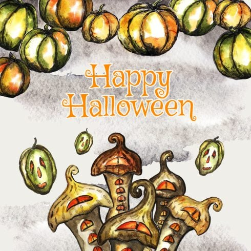 Halloween Watercolor Clipart - $12 ONLY - card3 5x7 490x490