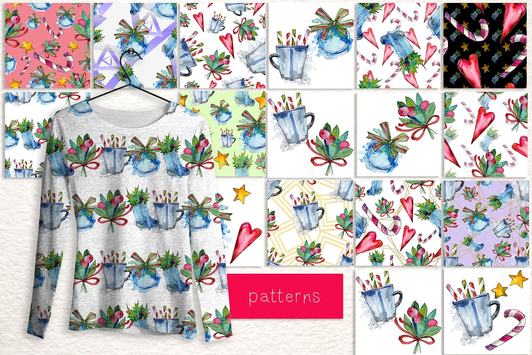 Winter holiday PNG watercolor set - $11 ONLY - cover 2 1 3