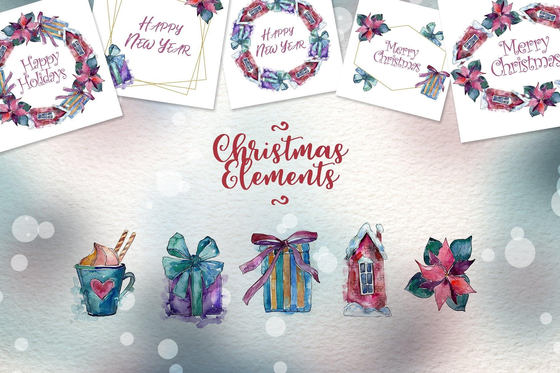 Christmas time PNG watercolor set