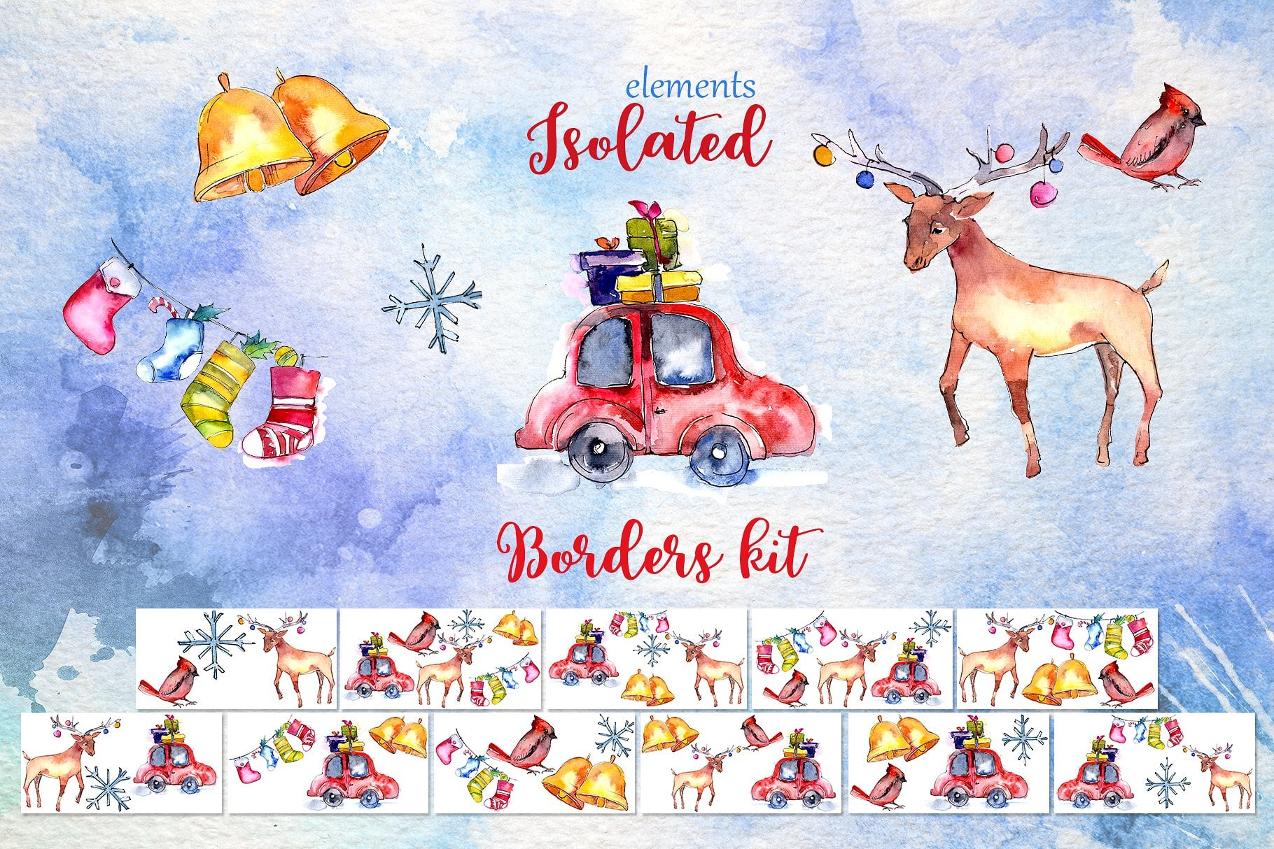 Christmas collection PNG watercolor
