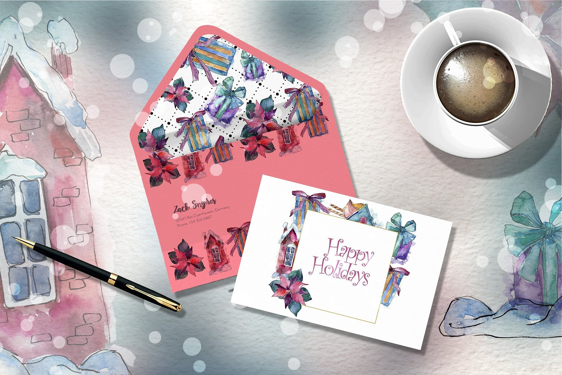 Christmas time PNG watercolor set - just $11 - cover 7 1 3