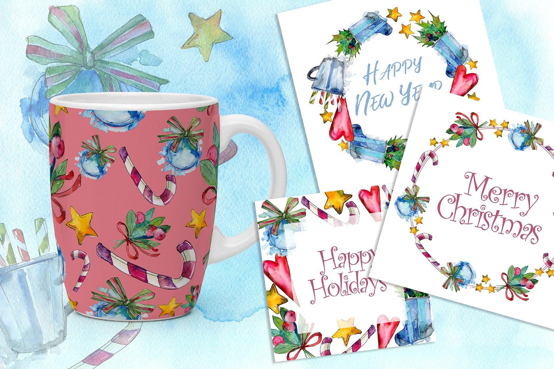 Winter holiday PNG watercolor set