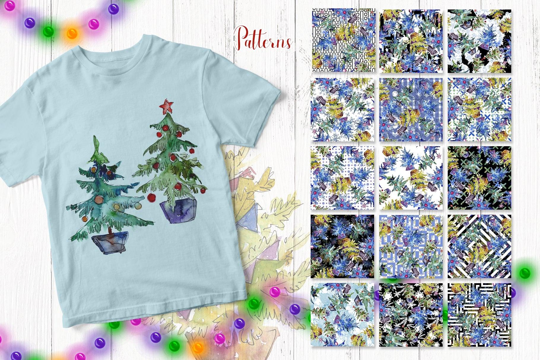 Trees Christmas PNG watercolor set - $11 - e7642e3b9c4a2dfe4c060c8468bc1b16 resize min