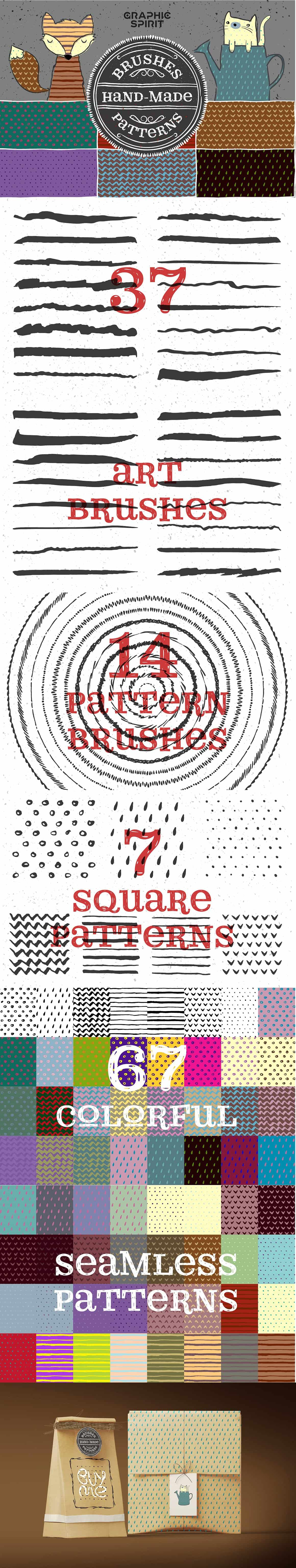 12 in 1 Adobe Illustrator Add-ons Bundle - just $27 - hand made brushes patterns 0 min