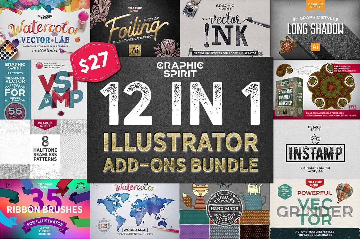 12 in 1 Adobe Illustrator Add-ons Bundle - just $27 - illustrator bundle preview
