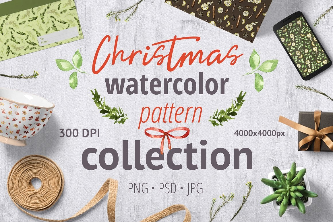 Christmas Watercolor Pattern Collection - $3 ONLY - presentation1cover