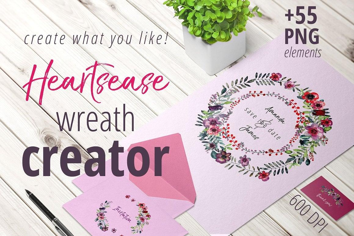 Heartsease Watercolor Wreath Creator - $10 ONLY - presentation1cover 1 5
