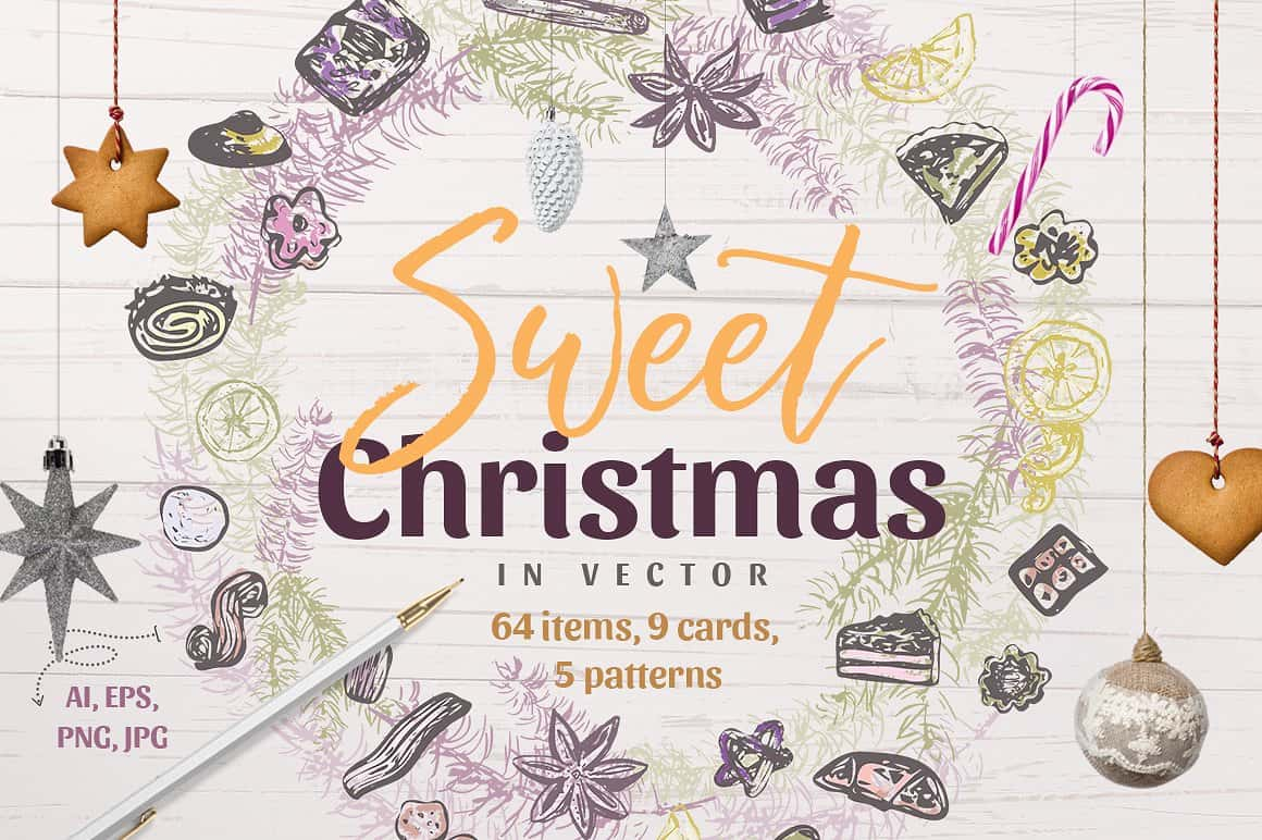 Sweet Christmas: Vector Hand-Sketched Set - just $7 - presentation1cover min 1