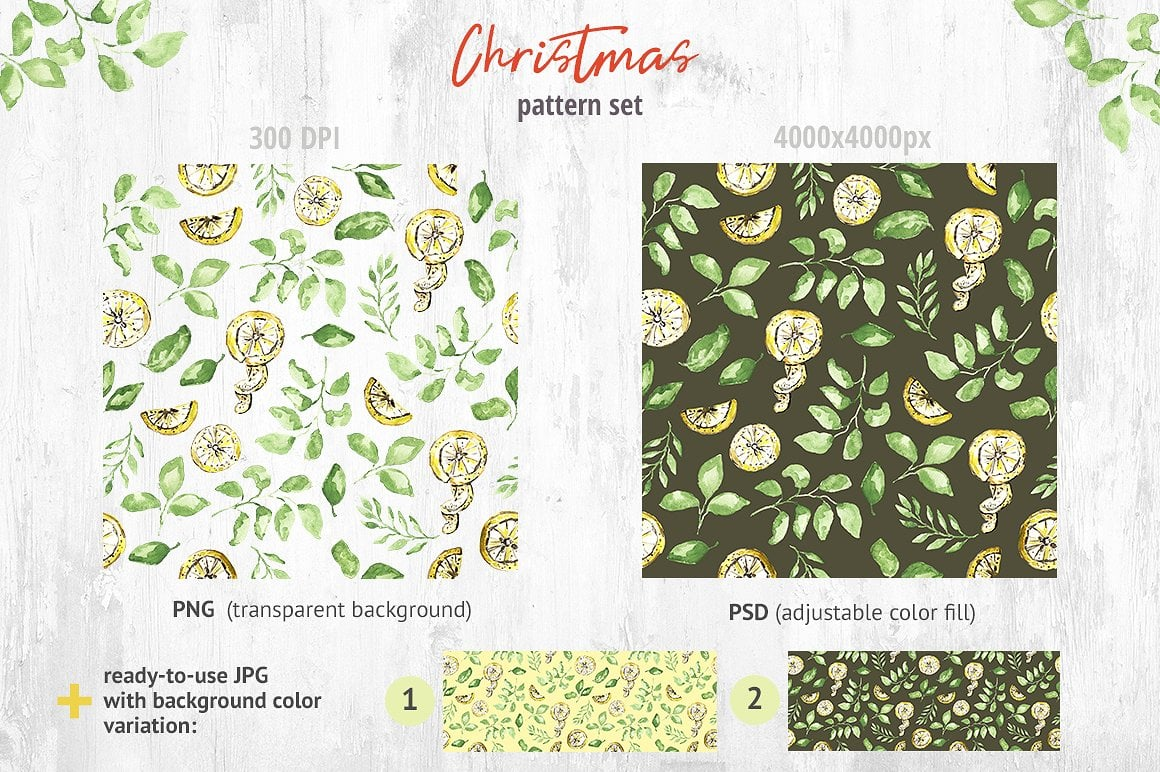 Christmas Watercolor Pattern Collection - $3 ONLY - presentation2 1 1
