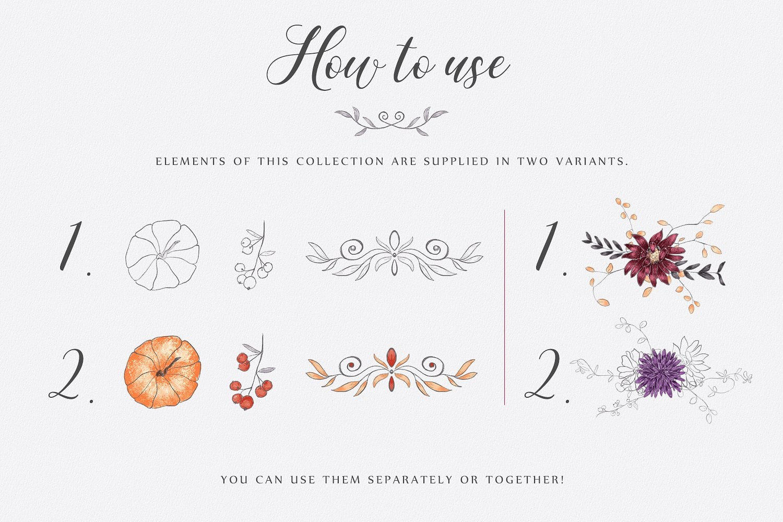 Autumn Splendour: 129+ Hand Drawn Elements - just $16 - presentation3