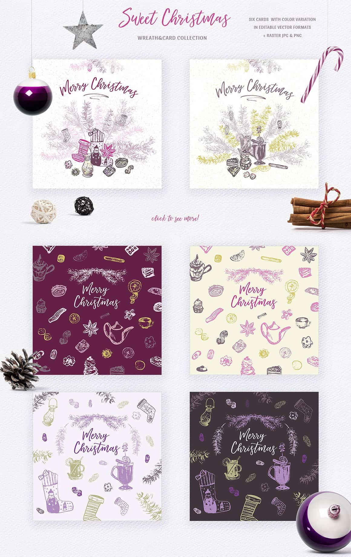 Sweet Christmas: Vector Hand-Sketched Set - just $7 - presentation3 min 1
