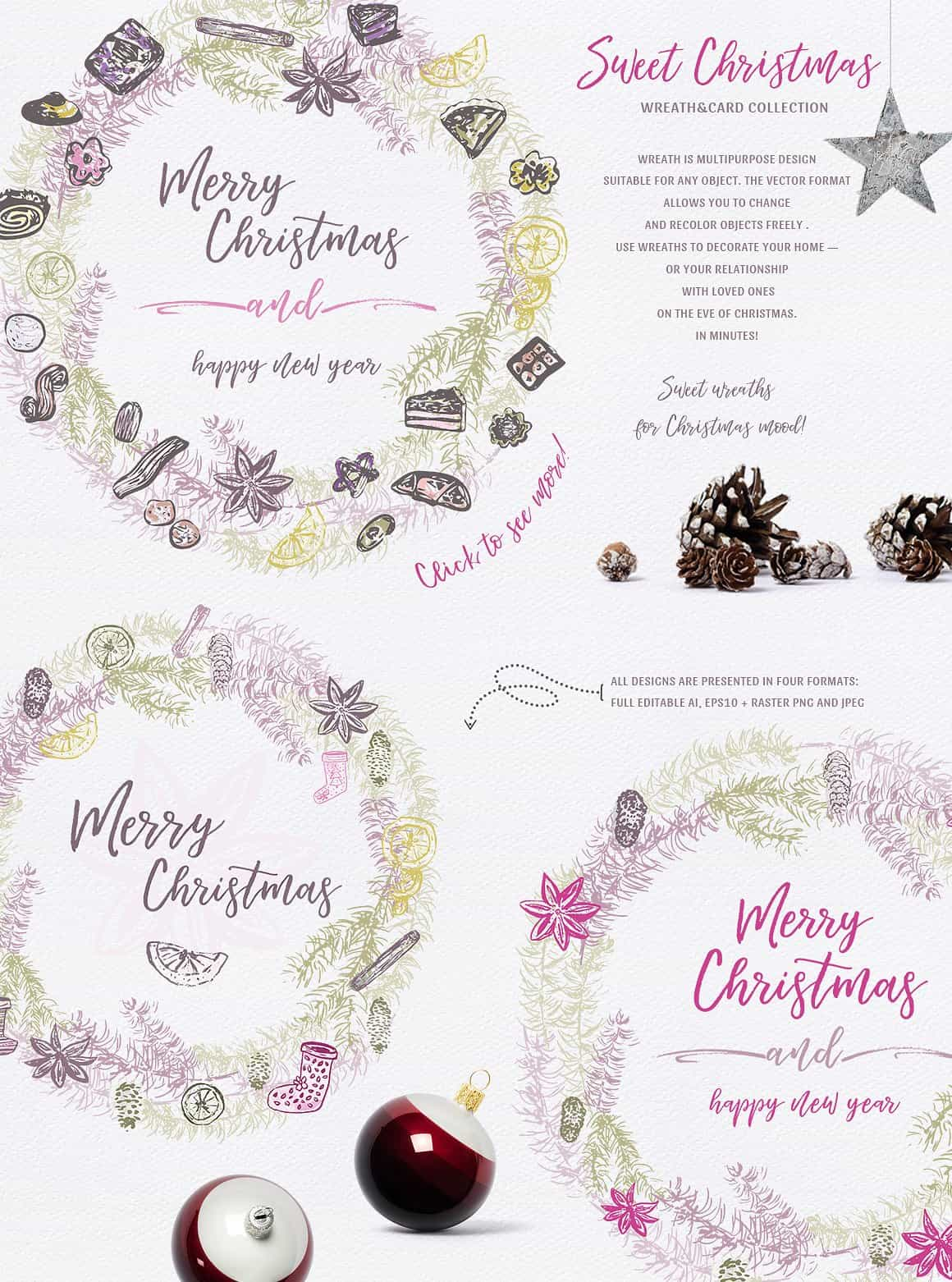 Sweet Christmas: Vector Hand-Sketched Set - just $7 - presentation4 min 1