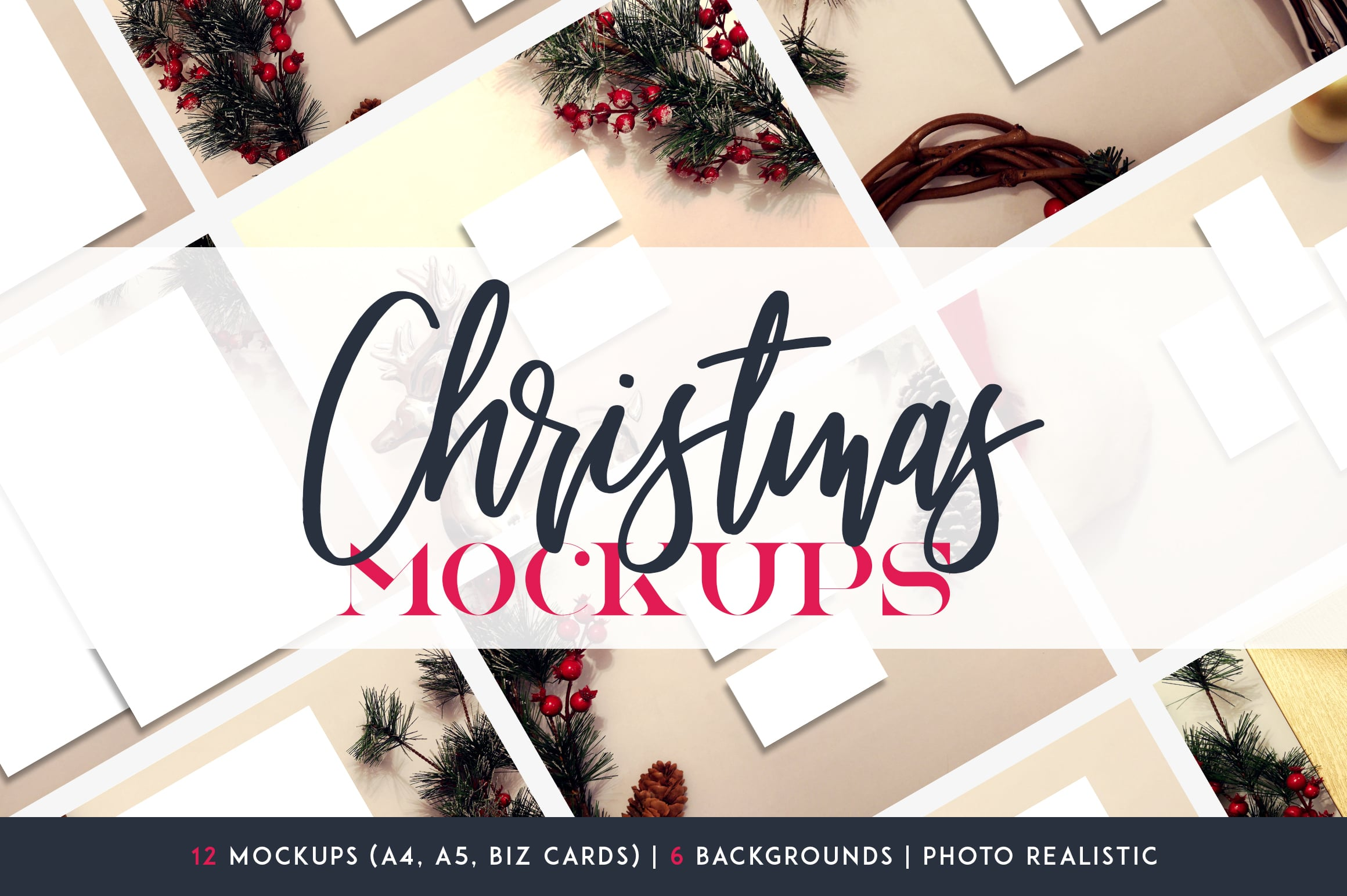 12 Christmas Mockups + Backgrounds - $9 ONLY - 1 4