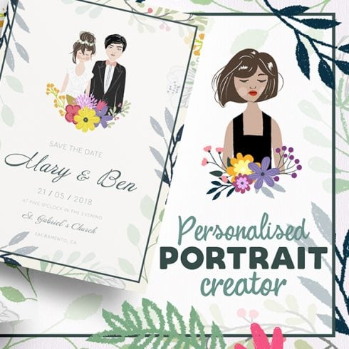Best Wedding Invite Information Card in 2020. Portrait Creator Bride and Groom - 3 2 490x490