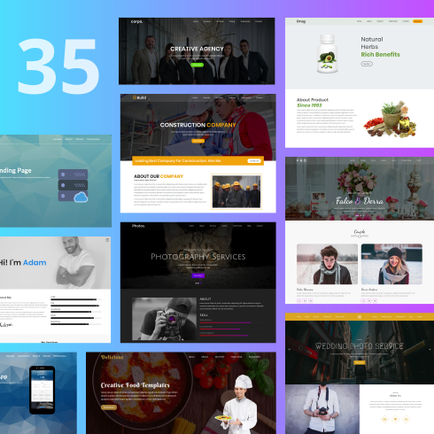 [Mega Bundle]1052 Items: 26 HTML, 19 PSD, 7 WordPress Themes, 1000+ vector icons! - 490490px