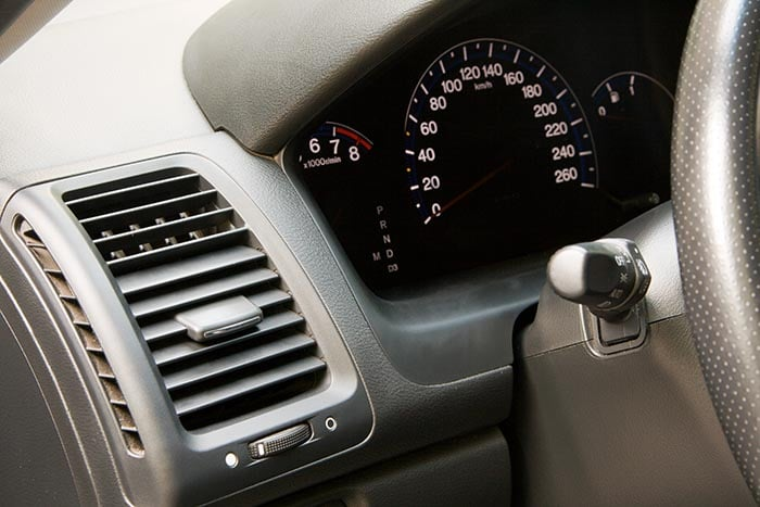 Modern car dashboard closeup photo