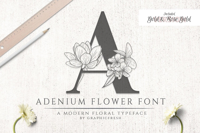 Adenium Font + Gold & Rose Gold Foil - $21 - adenium 01
