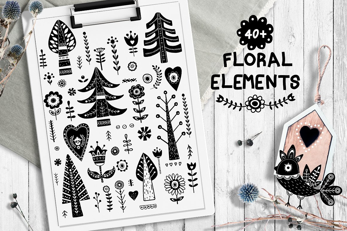 These floral elements are somewhat occult.