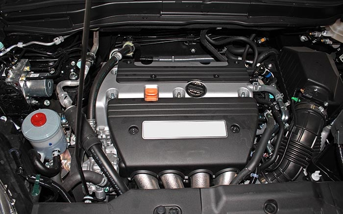 Open engine of a modern car