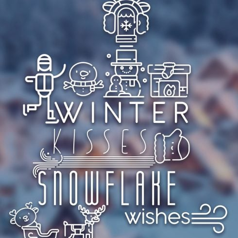 Winter Typography PostCard - $3 ONLY - 600 13 490x490