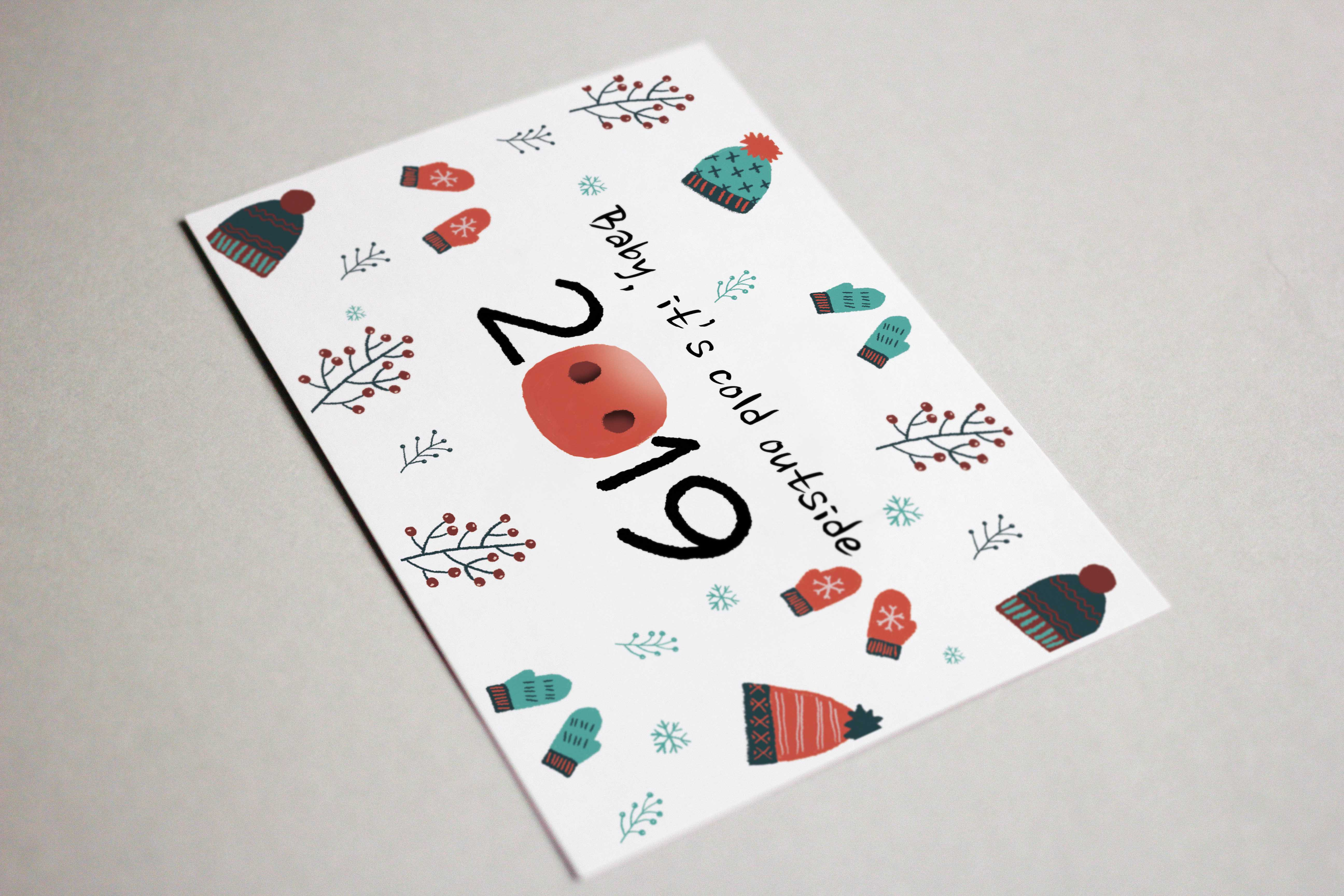 Give Your Friend a Non-Virtual New Year Card! - Free mock 02