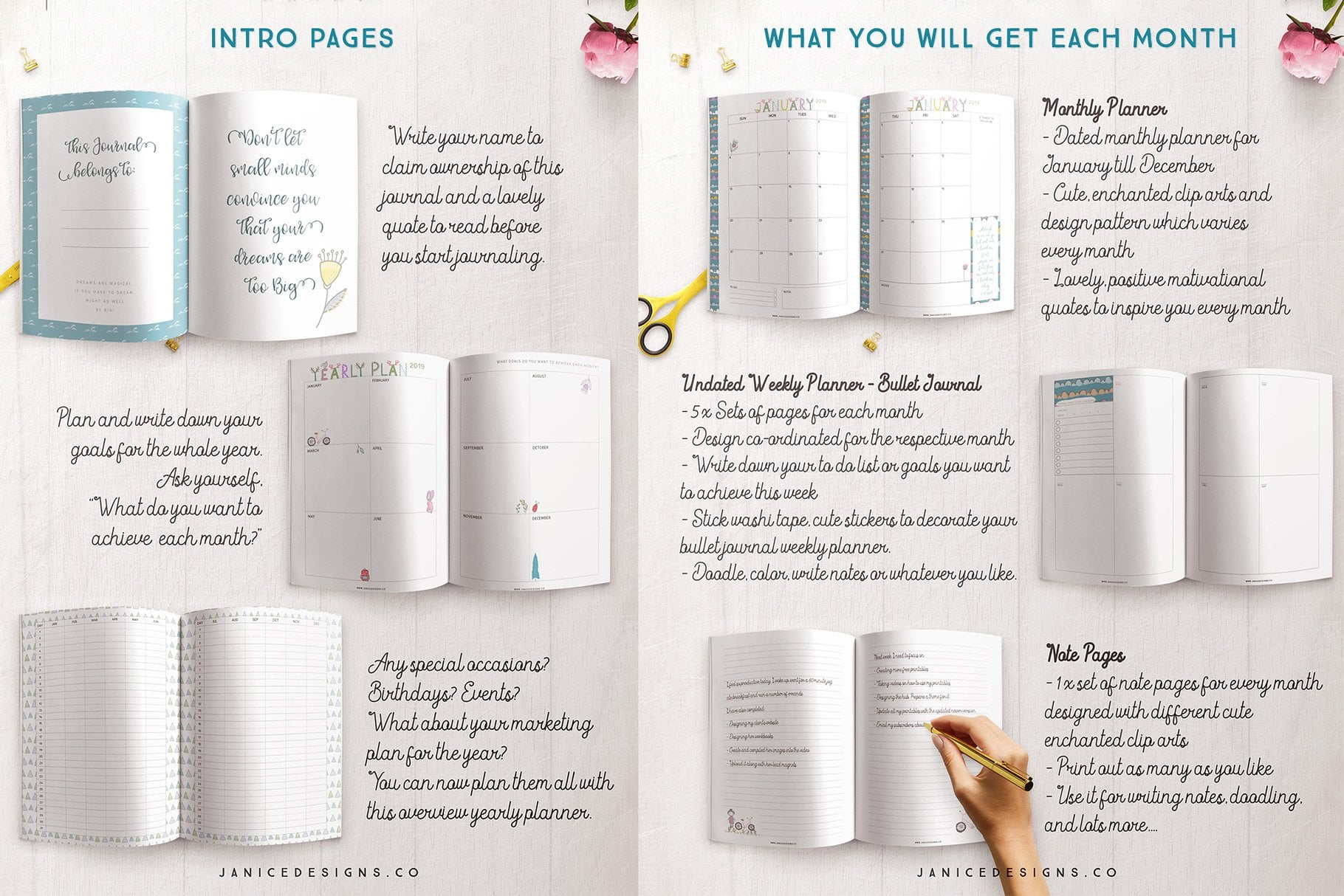 The Enchanted Woods Journal (3 sizes) - $35 - enchanted woods journal intro and monthly pages