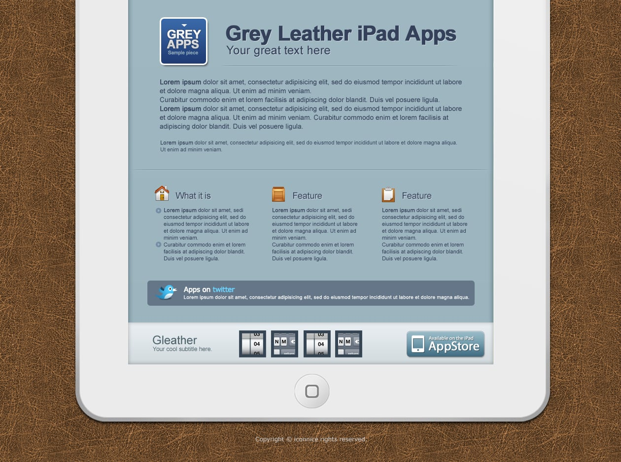 IconNice Big Bundle: 25 iOS app web templates and more! - grey leather2
