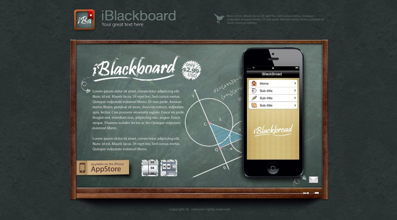 IconNice Big Bundle: 25 iOS app web templates and more! - iBlackboard black