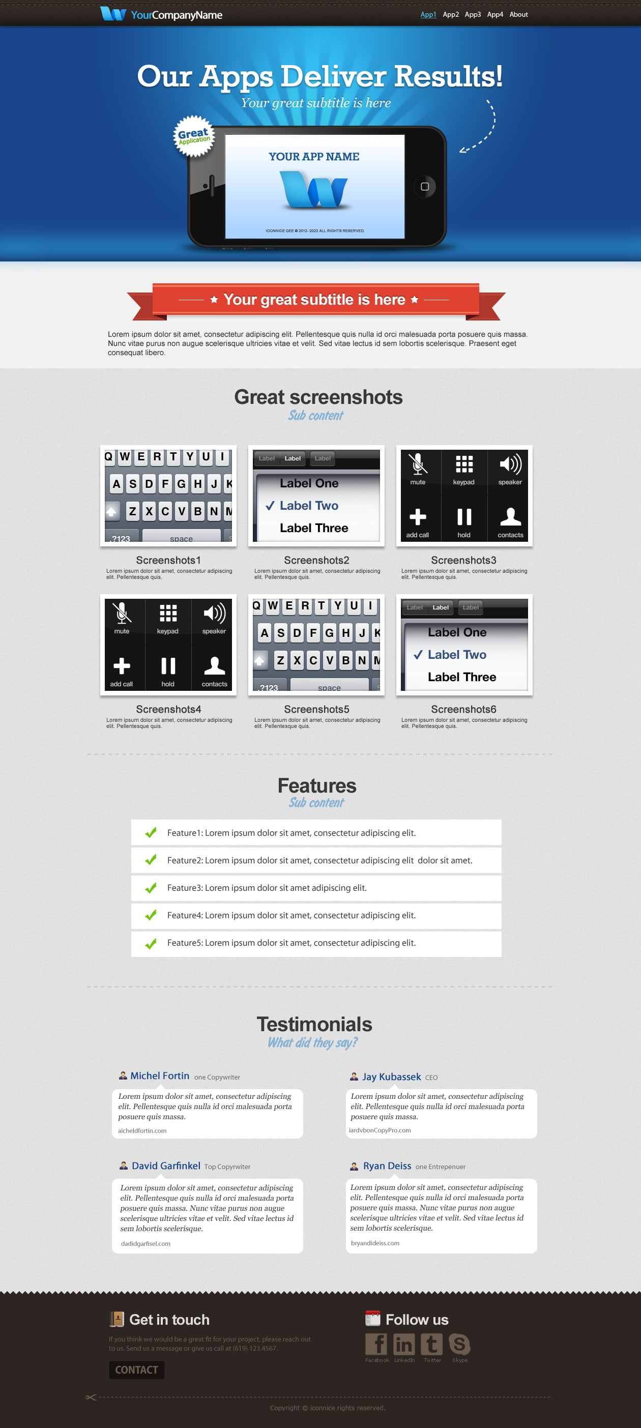 IconNice Big Bundle: 25 iOS app web templates and more! - iPhone2