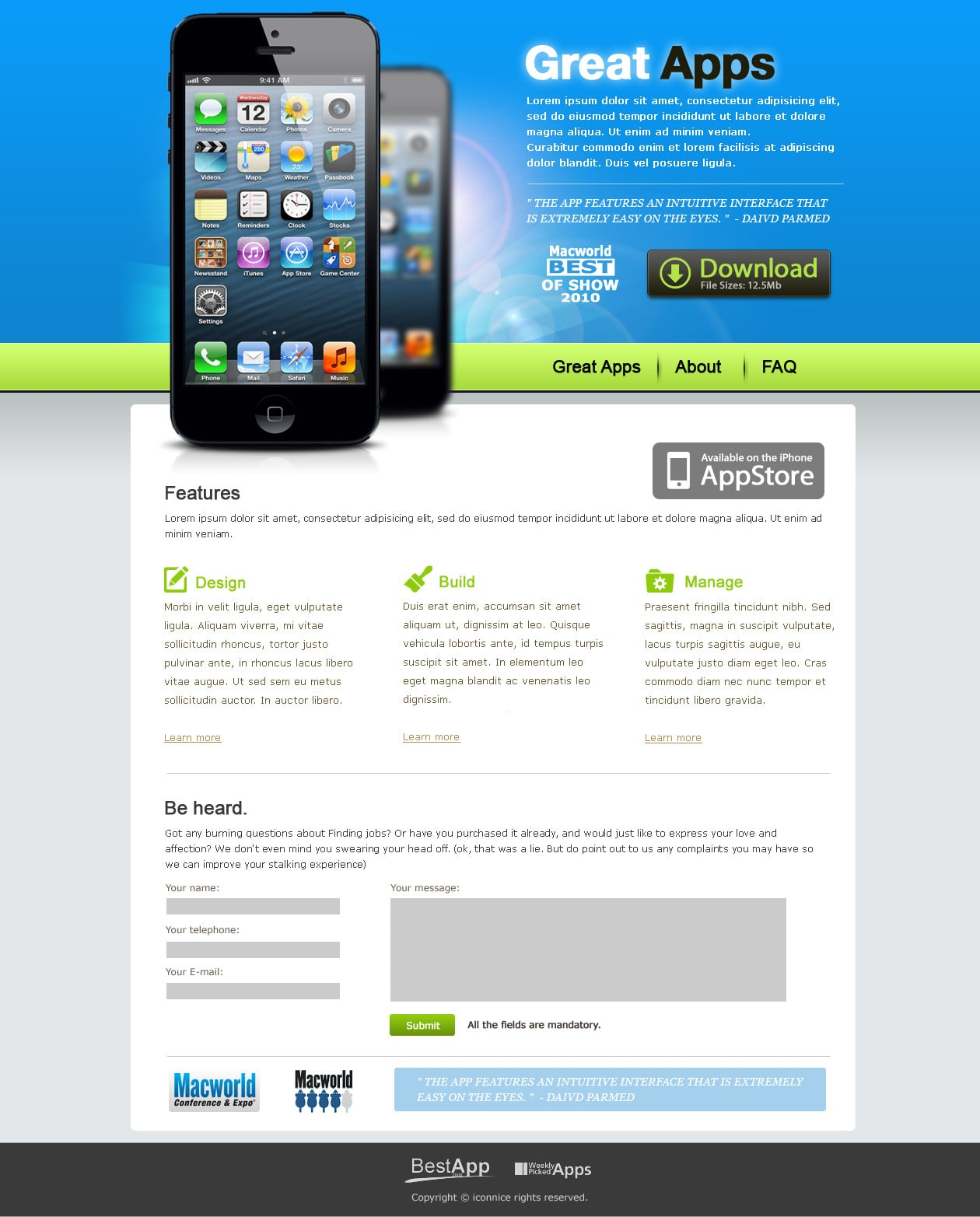 IconNice Big Bundle: 25 iOS app web templates and more! - index