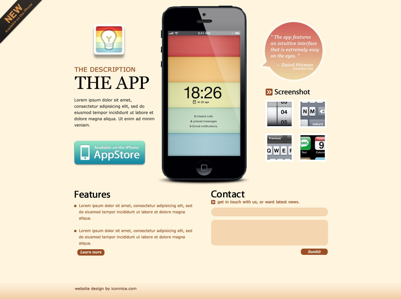 IconNice Big Bundle: 25 iOS app web templates and more! - light brown iPhone 5 App Web