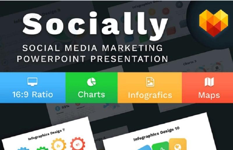 Social Media Marketing Slides - Socially PowerPoint Template