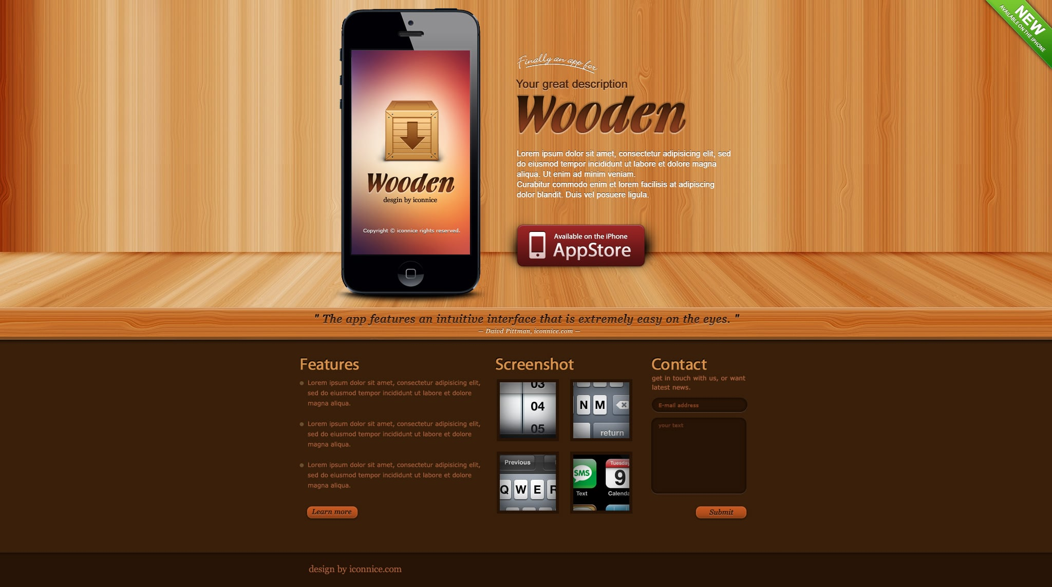 IconNice Big Bundle: 25 iOS app web templates and more! - wooden iPhone 5