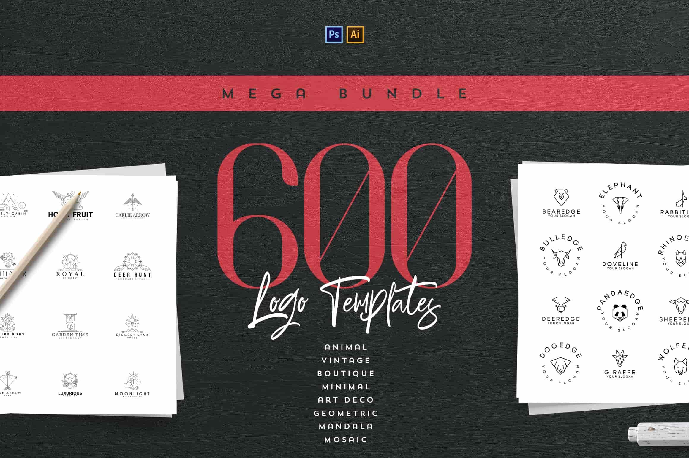 Mega Bundle - 600 Logo Templates - $29 - 1 1 min