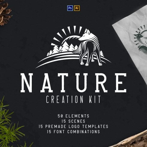 Nature Creation Kit: Fonts, Logo, Elements - $19 - 600 26 490x490