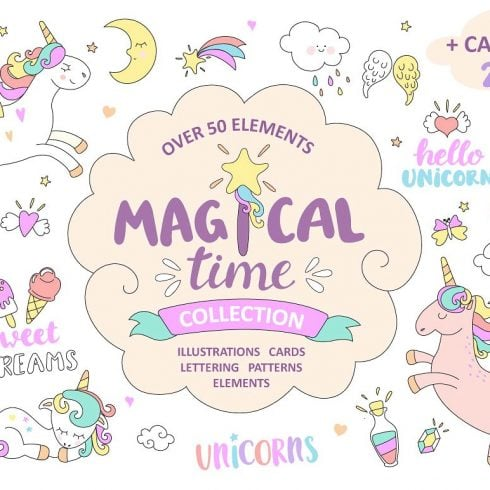 Little Unicorn: Hand-drawn Style Cartoon Illustrations - $15 - 600 4 490x490