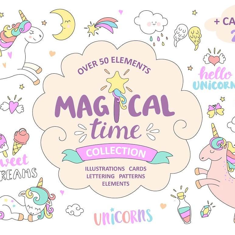 Little Unicorn: Hand-drawn Style Cartoon Illustrations main cover.
