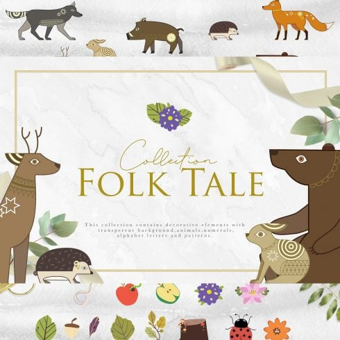 Folk Tale: a Set of Animals Illustrations and Decorative Elements - 600 5 490x490
