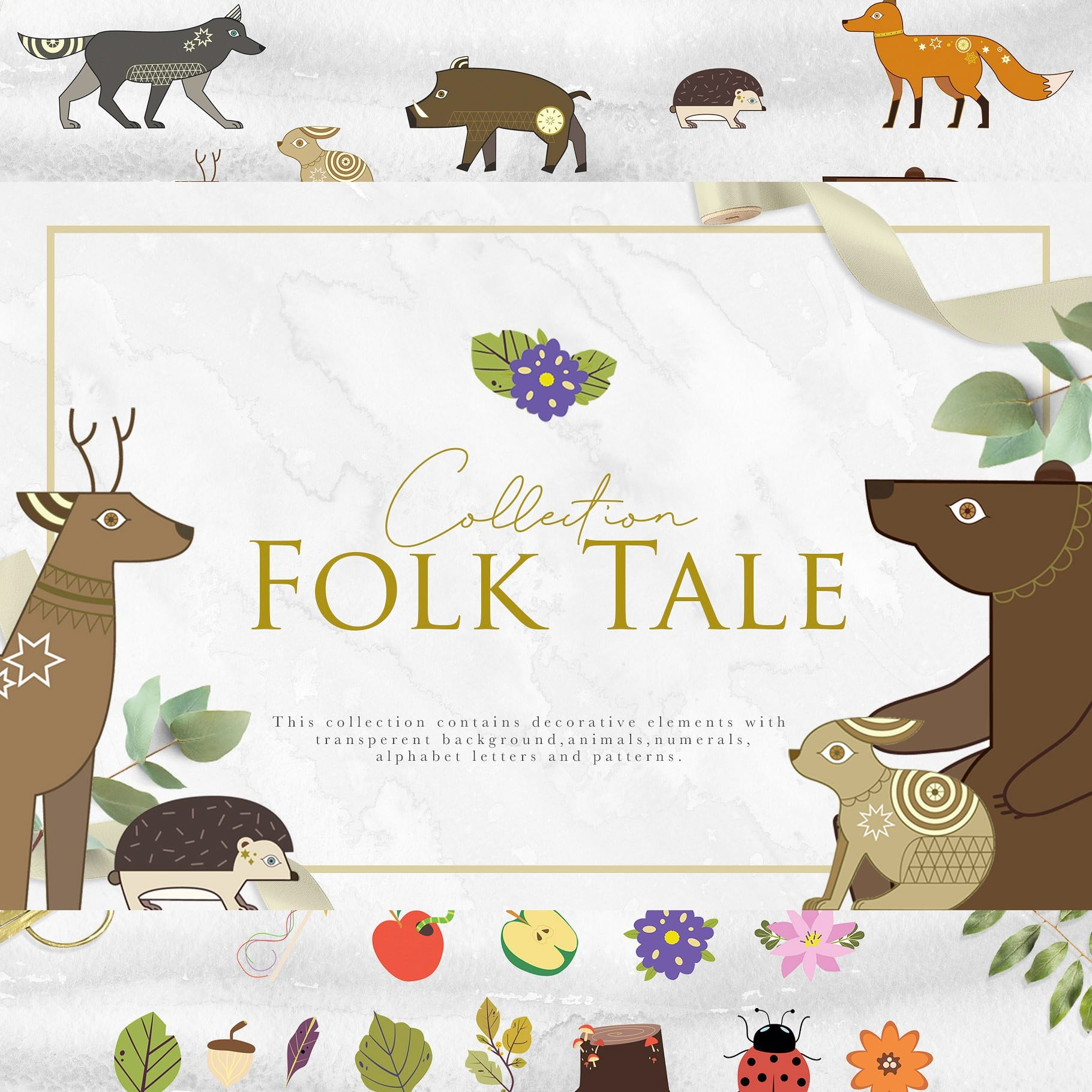 Folk Tale: a Set of Animals Illustrations and Decorative Elements main cover.
