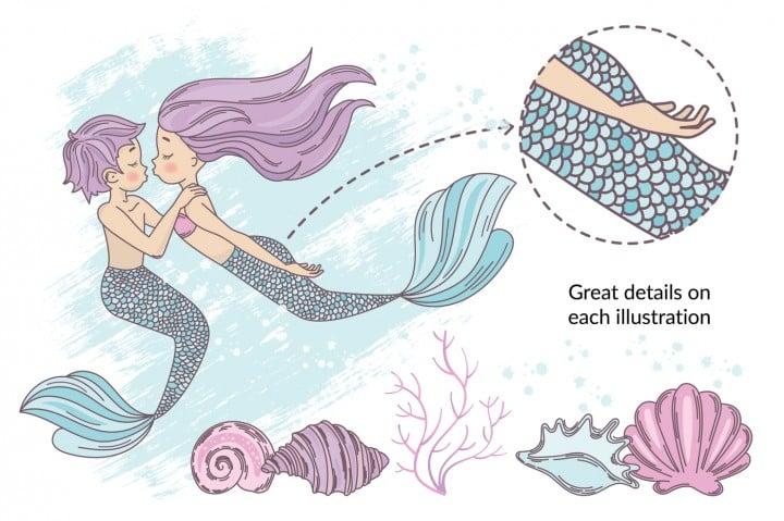 Little Mermaid Clipart: Mermaid Tail Clipart Vector Illustrations - $8 - 64f80e32ecee9d32c789462cb3cb1762459a97df