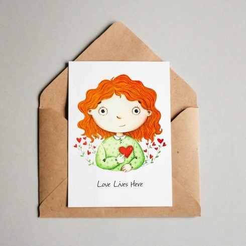 """Love Lives Here"" PostCard -$3 - Free mock 01 min 490x490"