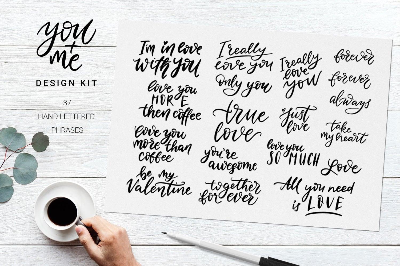 You + Me: Handdrawn Design Kit - $12 - Love Presentation3 min