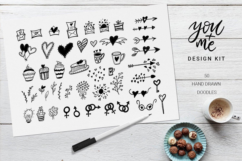 You + Me: Handdrawn Design Kit - $12 - Love Presentation4 min
