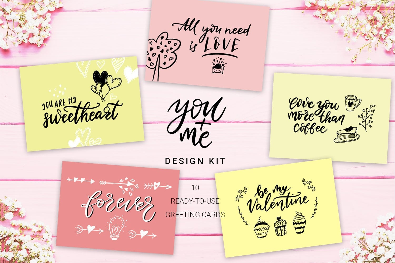 You + Me: Handdrawn Design Kit - $12 - Love Presentation6 min