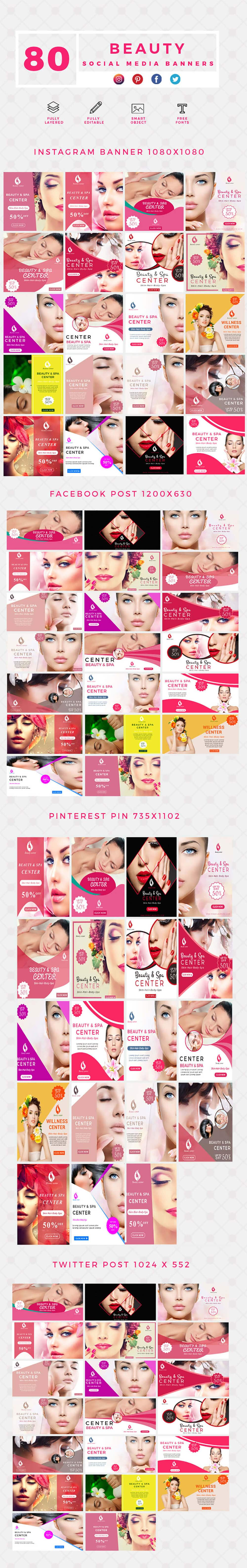 640 Templates for Facebook, Instagram, Twitter, Pinterest - $15 - PREVIEW BEAUTY min