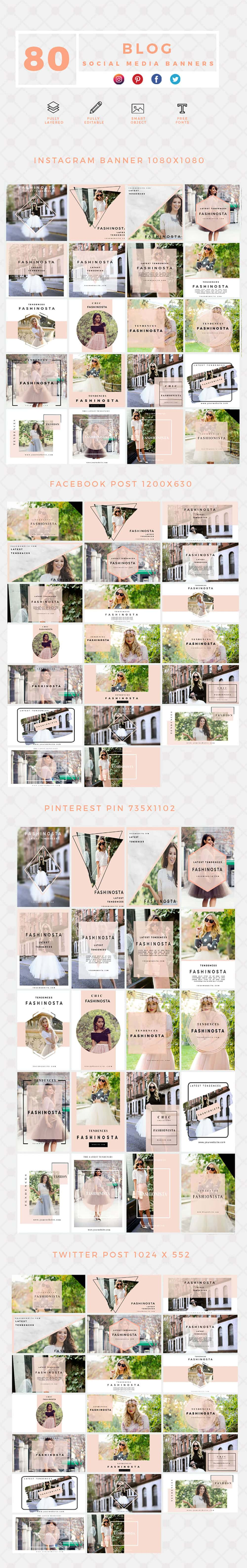 640 Templates for Facebook, Instagram, Twitter, Pinterest - $15 - PREVIEW BLOG min