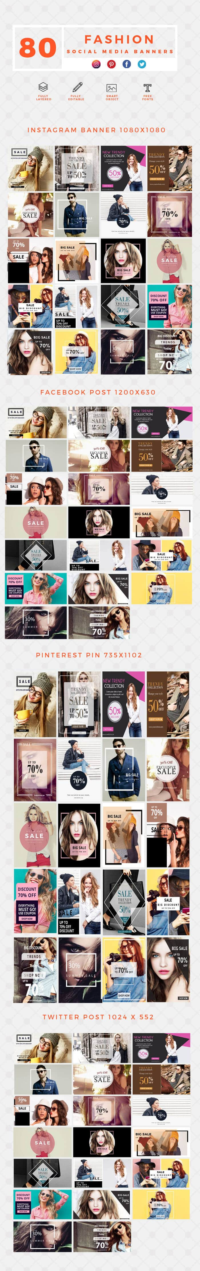 640 Templates for Facebook, Instagram, Twitter, Pinterest - $15 - PREVIEW FASHION min