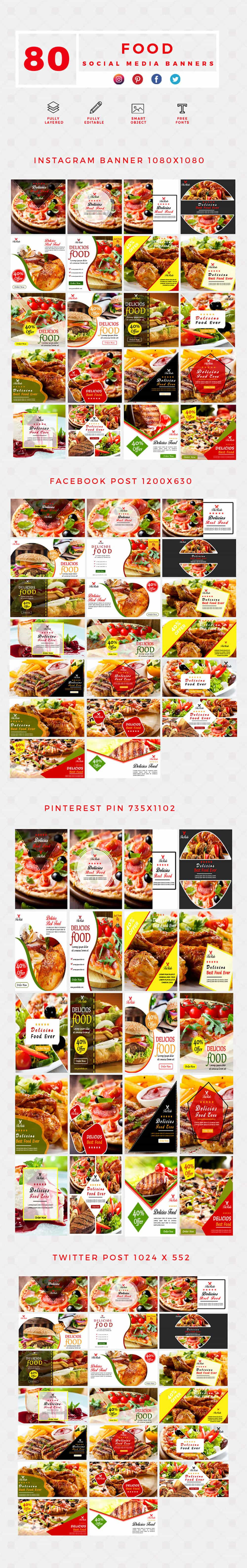 640 Templates for Facebook, Instagram, Twitter, Pinterest - $15 - PREVIEW FOOD min