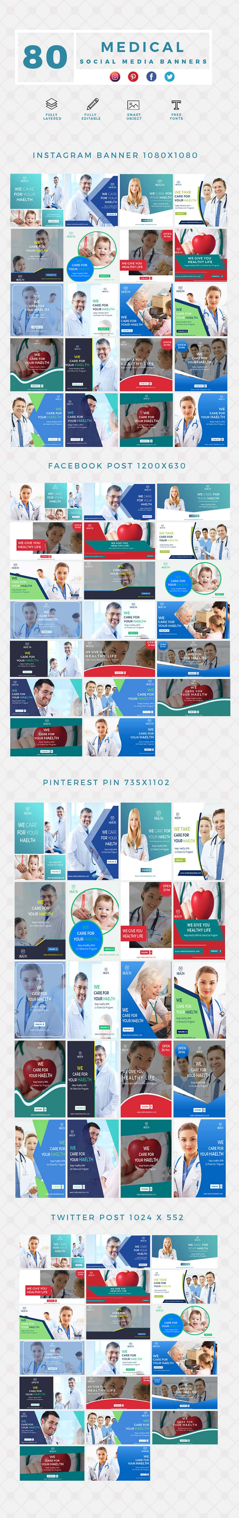 640 Templates for Facebook, Instagram, Twitter, Pinterest - $15 - PREVIEW MEDICAL min