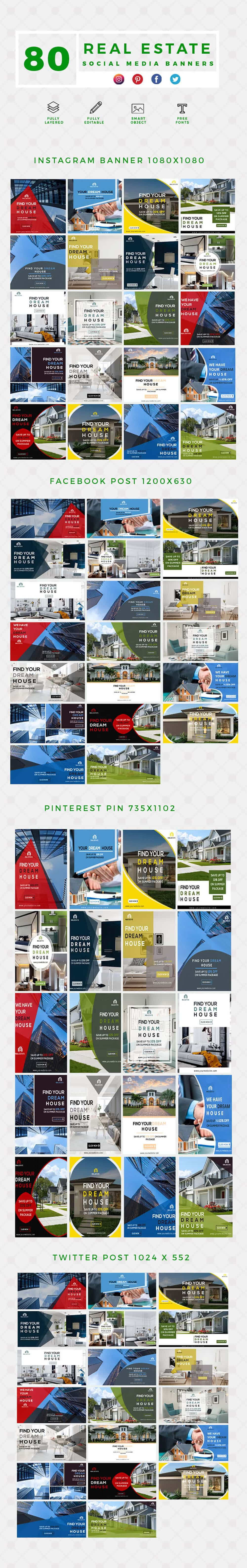 640 Templates for Facebook, Instagram, Twitter, Pinterest - $15 - PREVIEW REAL ESTATE min